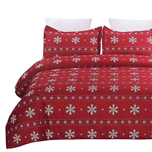 Vaulia Lightweight Microfiber Duvet Cover Set, Snowflake Pattern Design for Christmas New Year Holidays, Red Color - King Size
