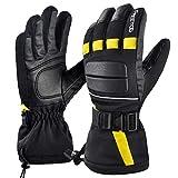 FREETOO Leather Men Ski Gloves Waterproof Windproof Snow Gloves for Men Winter Gloves Wear-Resistant Snowboard Gloves,Large