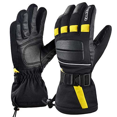 FREETOO Leather Men Ski Gloves Waterproof Windproof Snow Gloves for Men Winter Gloves Wear-Resistant Snowboard Gloves,Medium