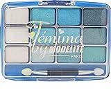 Palette ombre à paupières, 12 couleurs bleues turquoise
