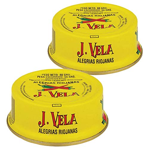 Alegrías Riojanas J. Vela - Producto Artesano Pimientos en Conserva Asados con Leña - Pimientos Picantes (Lote 2 Latas)
