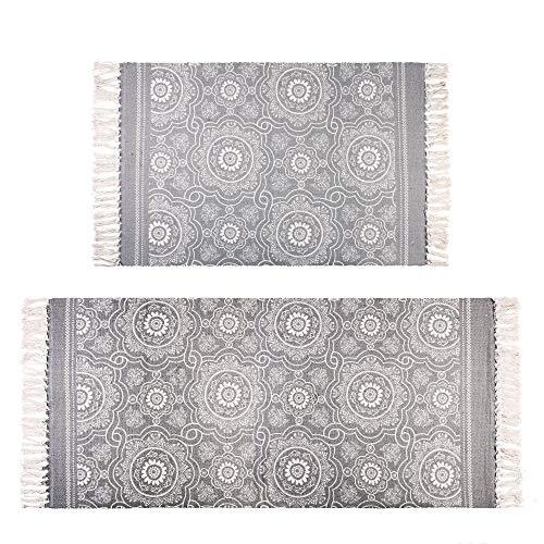 Famibay Grau Baumwolle Teppiche Setzt Waschbar Teppich Läufer Quasten Fußboden Teppich Matten für Küche Wohnzimmer Bedroon(60x90cm and 60x130cm)