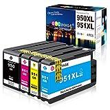 GPC Image 950 XL 951 XL Kompatible Druckerpatronen als Ersatz für HP 950XL 951XL Multipack Patrone für Officejet Pro 8600 8610 8620 8100 8615 276dw 251dw Drucker (Schwarz Cyan Magenta Gelb, 4er-Pack)