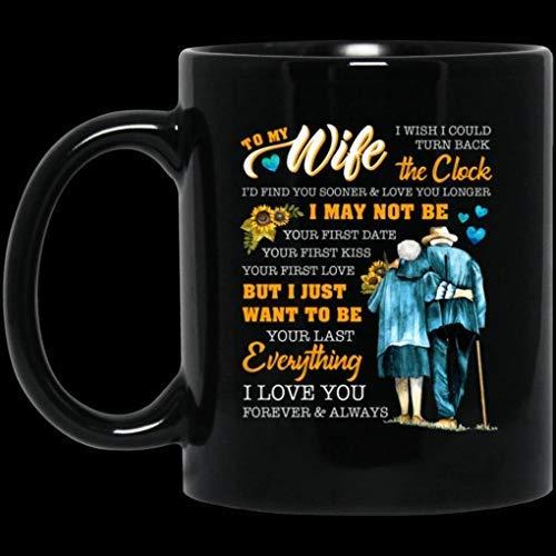 N\A Regalo para Navidad - Día de San Valentín 11oz para mi Esposa Desearía Poder retroceder el Reloj Te Amo Taza de café de cerámica