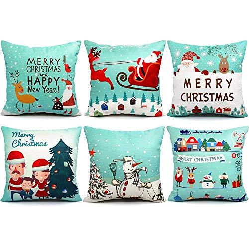 DomoWin Funda de cojín de Navidad, Funda de Almohada Navidad Decorativa de Lino de algodón Fundas de Almohada para Sofás Sillon Silla