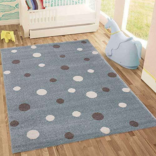 Fashion4Home Kinderteppich DOTS l Pünktchen Gepunktet l Öko-Tex Siegel | Farbe: Beige Blau Rosa | Kinderzimmer/Jugendzimmer (Mint, 120x170 cm)