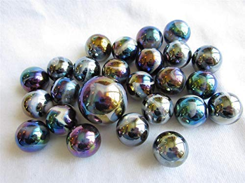 Big Game Toys~25 Glass Marbles Midnight Galaxy Purple/Gold Oil Slick Metallic Iridescent Classic Style Game Pack (24 Player, 1 Shooter) Decor/Vase Filler/Aquarium