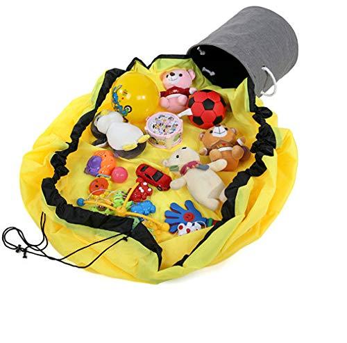 N/K Spiel Speicher Tasche AufräUmsack,Kinder Travel Slide Away Toy Aufbewahrungskorb Spielmatte 33×33cm/Yellow