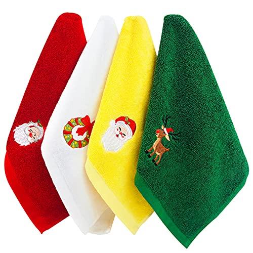 Toallas de Mano navideñas 4 Paquetes de toallitas Toallas de algodón Puro Juego de Toallas Decorativas de baño Juego de Toallas de Navidad con diseño de patrón navideño Juego de Regalo Uso doméstico