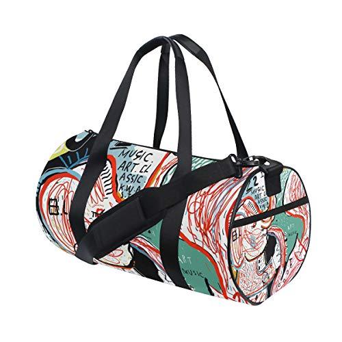 ZOMOY Sporttasche,Bild Elefant, der auf Trompete spielt,Neue Druckzylinder Sporttasche Fitness Taschen Reisetasche Gepäck Leinwand Handtasche