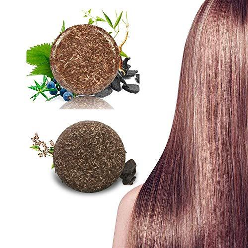 Barre de shampooing assombrissant les cheveux, revitalisant organique naturel et essence de réparation, savon de shampooing solide pour cheveux secs, gras et abîmés (2pcs)