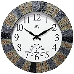 Infinity Instruments 13 inch Outdoor Wall Clock Faux Slate with Built-in Thermometer Combo Waterproof Large Outdoor Clock for Patios Weatherproof Battery Operated Quartz Movement