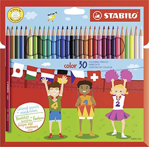 Buntstift - STABILO color - 30er Pack - mit 30 verschiedenen Farben inklusive 4 Neonfarben