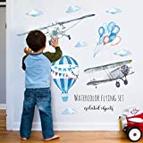 Stickers Arbre Mural 3D Autocollants en Vinyle - Aquarelle peinte avion ballon arrangement fond décoratif stickers muraux