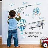 Stickers Arbre Mural 3D Autocollants en Vinyle - Aquarelle peinte avion ballon arrangement fond décoratif stickers muraux
