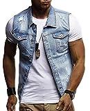 SAMGU Top da Uomo in Camicione di Jeans Vintage con Gilet di Jeans Vintage E Gilet