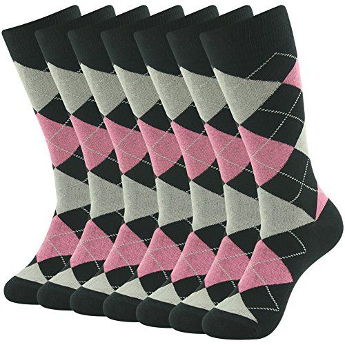 SUTTOS Mens Dress Socks Fun Colorful Socks for Men Cotton Patterned Fashion Mens Socks 7 Pairs