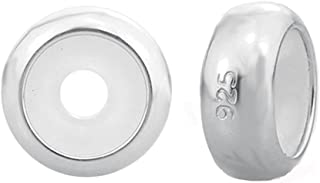 Clip Stopper Charms Sterling Silver Rondelle Spacer Bead for Bracelets (2 PCS)