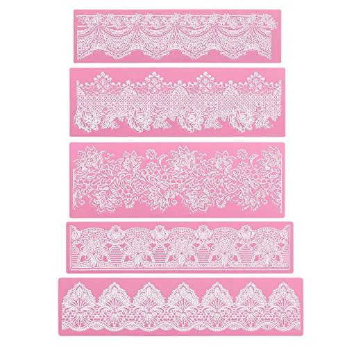 Lace Silicone Mat, Beasea 5pcs Sugar Lace Mat Lace Fondant Molds Silicone Lace Molds Cake Lace Mold Fondant Tools Cake Decorating Lace Mat Flower Pattern Molds Sugar Craft Tools - Pink