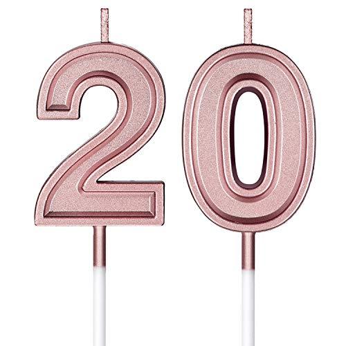 BBTO 20. Geburtstag Kerzen Kuchen Nummer Kerzen Alles Gute zum Geburtstag Kuchen Topper Dekorationen für Geburtstag Hochzeit Jahrestag Feier Zubehör, Rose Gold