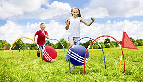 Kovot Giant Kick Croquet Game Set | Includes Inflatable Croquet Balls, Wickets & Finish Flags