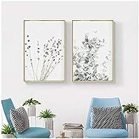 壁の芸術、北欧スタイルのラベンダーユーカリのポスター植物のキャンバスの絵画リビングルームの農家の写真フレームなし