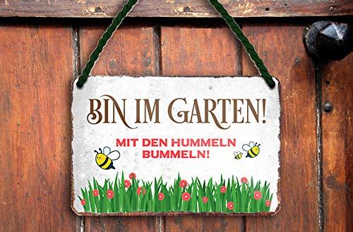"""schilderkreis24 – Blechschild Lustiger Spruch """"Bin im Garten Hummel."""" Deko Schild Geschenkidee Retro Geschenk Geburtstag Weihnachten für Garten Terrasse Balkon Küche Gärtner 18x12 cm"""