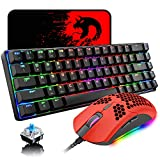 60% Mechanical Gaming Keyboard Blue Switch Mini 68 Keys Wired Type C Chroma RGB 18 Backlit Effects,Lightweight Gaming Mouse 6400DPI Honeycomb Optical,Gaming Mouse Pad for Gamers and Typists(Red)
