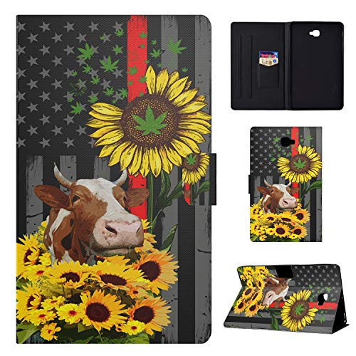 Galaxy Tab A 10.1 2016 Case,Wkooff PU Leather Wallet Auto Sleep/Wake Magnetic Slim Fit Folio Shock Absorption Case Cover for Samsung Galaxy Tab A 10.1(SM-T580/T585),American Flag and Cow Sunflower