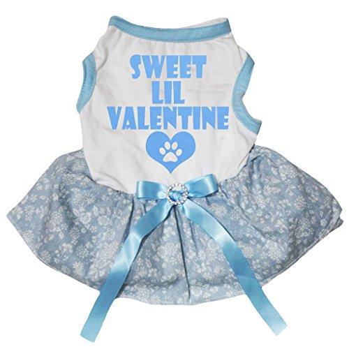 Petitebelle Puppy Vêtements Sweet Lil Valentine Dessus blanc Floral bleu clair Tutu