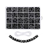 1200 Pieces A-Z Letter Beads, 6mm Cube Sorted Alphabet Beads and Black Acrylic Letter Bead kit, Vowel Letter Beads for Jewellery Making Kids&Crafts&Name Bracelets