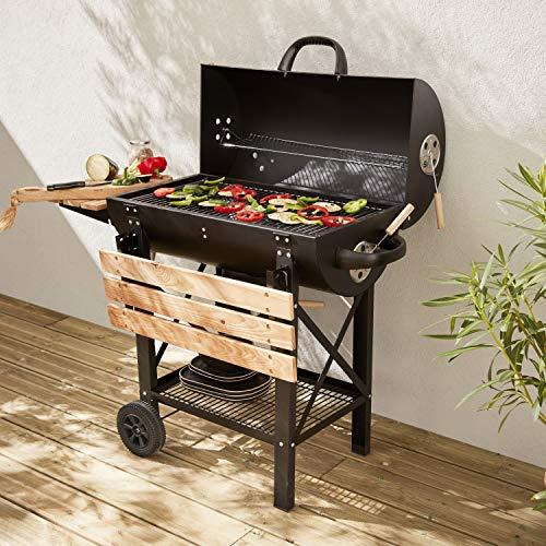 Alices Garden Barbecue américain Charbon de Bois - Serge Noir - Smoker américain avec aérateurs. récupérateur de Cendres. fumoir