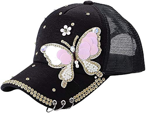 Goed ontworpen Baseball Adjstable Artificial Pearl 3D Butterfly Ademend Outdoor Zonnehoed Caps For Dames Meisjes-Pink, White, Black P Goed cadeau voor vrienden ap (Color : Black)