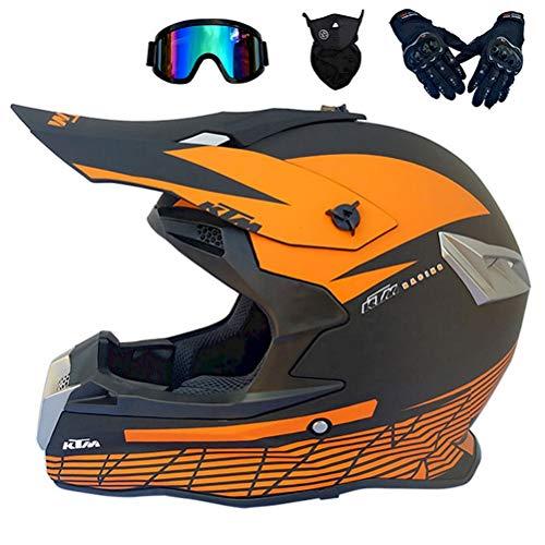 Motocross Helm Schwarz und Orange, Pro Motorrad Crosshelm mit Brille Fullface MTB Helm Off Road DH Helm Mopedhelm Motorradhelm Sicherheit Schutz (S,M,L,XL),M56`57CM