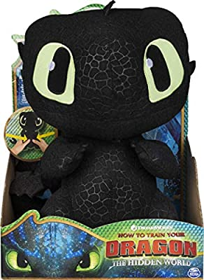 Dreamworks Dragons Squeeze & Growl Toothless, 10-Inch Plush Dragon with Sounds, for Kids Aged 4 and Up (Styles Vary) by Spin Master