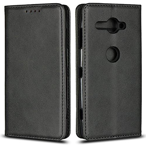 Copmob Sony Xperia XZ2 Compact hülle,Premium Flip Leder Geldbörse mit weichem TPU-Shock Absorption,[3 Kartensteckplatz][Ständerfunktion][Magnetschnalle] - Schwarz