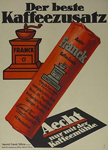 World of Art Vintage Kaffee, Tee und heiße Getränke Franck Kaffee der Beste kaffeezusatz, Dänemark C1925250GSM, Hochglanz, A3, vervielfältigtes Poster