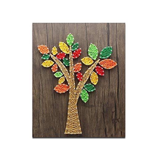 sswyfc Creatieve decoratieve schilderij houten plank driedimensionale nagels wikkelen handleiding DIY plant garen schilderij 25 * 30cm
