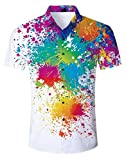 Goodstoworld Men's Colorful Paint Shirt Short Sleeve Button Down Cruise 3D Pattern Gay Pride Design Fashion Tee Funky Tie Dye Dress Shirts Polo Apparel