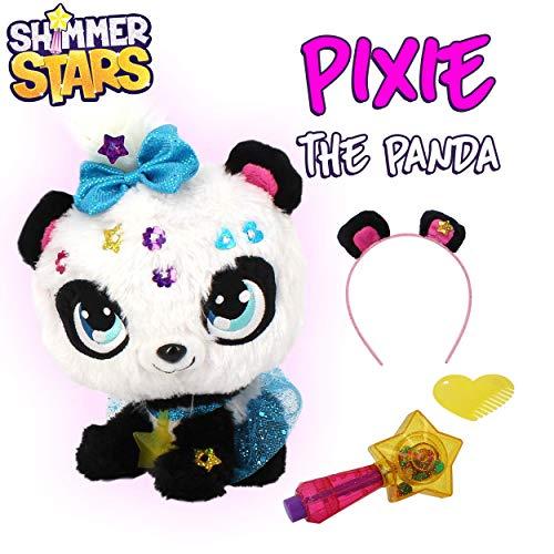 Shimmer Stars S19300 Pixie Panda pluche dier, zwart, wit