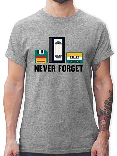 Nerds & Geeks - Never Forget - L - Grau meliert - l190_Shirt_Herren - L190 - Tshirt Herren und Männer T-Shirts