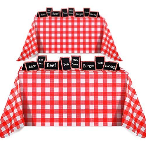 Boao 2 Stücke Tischdecken 51 x 72 Zoll Keine Führung Roter Gingham Kariert Rot und Weiß Karierten Tischdecken Kunststoff Tischdecken mit 16 Tafel Zelt Karten für Party Dekoration