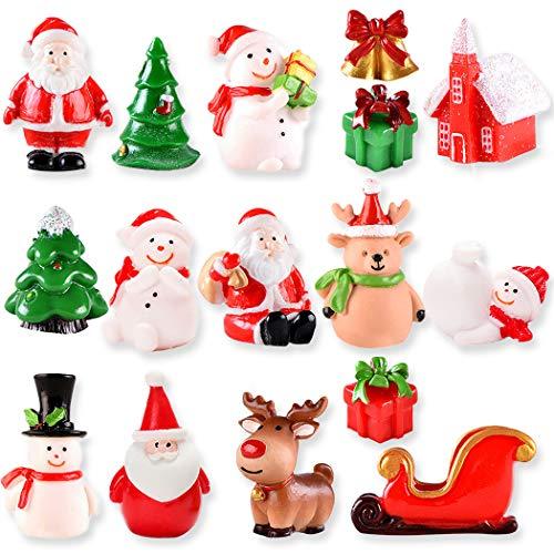 16Pcs Christmas Miniature Figurines Cute Miniature Christmas Micro Landscape Decoration, Fansport Christmas Miniature Ornaments Kit DIY Fairy Garden Miniature Resin Ornaments for Christmas Decorations