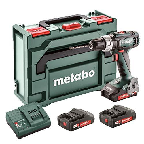 Metabo 602317540 602317540-Taladro percutor a bateria 18V / 3X 2,0 Ah Li-Ion SB 18 L-portabrocas 13 mm con maletín, 1 V, Negro