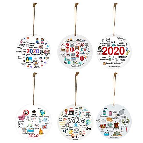 Janly Clearance Sale Decoración del hogar, 6 piezas de madera de bricolaje personalizado modelado decoración colgante 2020 Souvenir, para Navidad hogar y jardín decoración, (multicolor)