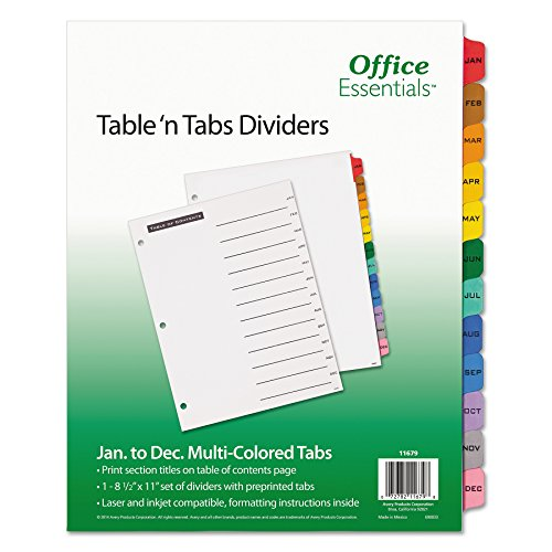 Office Essentials Table 'n Tabs Dividers, 12-Tab, Letter, (11679) (12 Count)