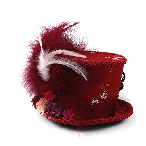 Moda Mini Sombrero de copa antiguo rojo y marfil Tea Cup Hat, Alicia en el país de las maravillas, Hat Sombrerero loco Sombrero de té Mad Hatter Tea Party comodidad ( Color : Red , Size : 25-30cm )