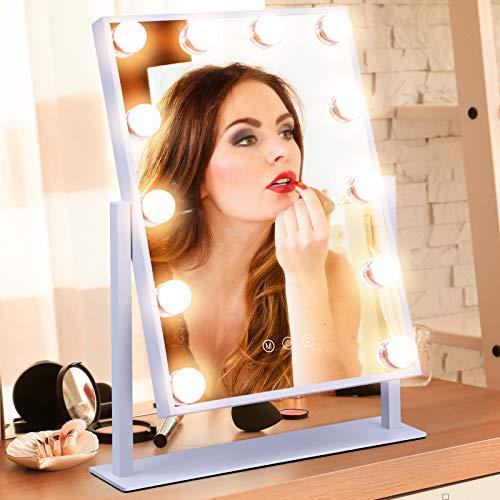 APOKE Hollywood Espejo Iluminado Espejo de tocador Grande para Maquillaje con Bombillas LED, Espejo de Belleza cosmético de Mesa Brillo Ajustable