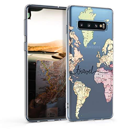 kwmobile Custodia Compatibile con Samsung Galaxy S10 - Cover Silicone TPU - Protezione Back Case - Mappa del Mondo Nero/Multicolore/Trasparente