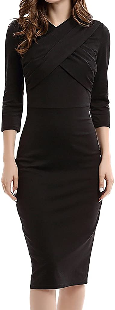 ZANLICE Women's V Neck Half Sleeve Pleats Zipper Pencil Dress for XS S M L XL